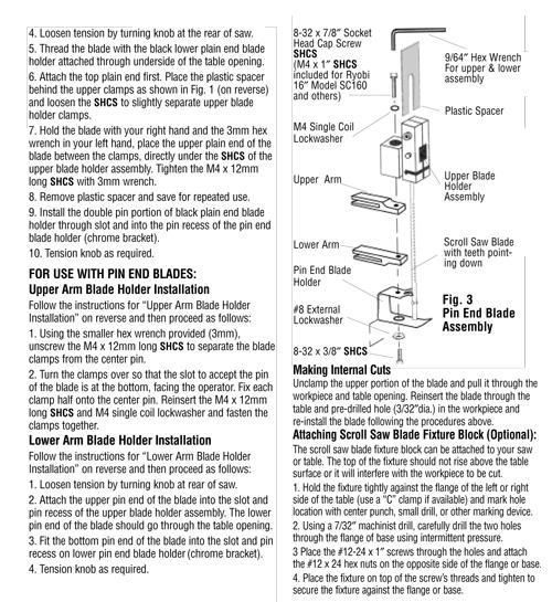 Ac49610 New Olson Sa4961 Scroll Saw Blade Conversion Kit